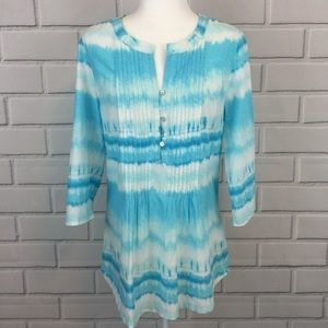 J. Jill Watercolor Blue White Front Pleated Top